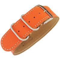 24mm Fluco Germany 1-Piece Mens Orange Leather UTC Military G10 Watch Band Strap
