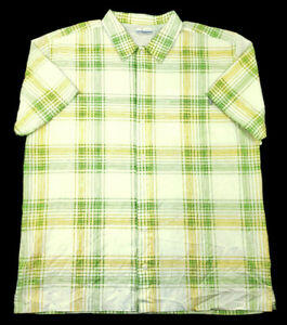 Columbia PFG Mens XL Button Front S/S Quick Dry Mesh Vented Shirt Yellow Green