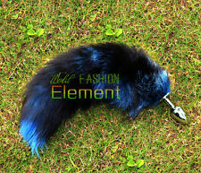 Royal Funny Love Real Fox Tail Anal Butt Plug Insert Stainless Sex Toy Adult Too