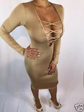 Connie's Long Sleeve Criss Cross Chest Tan Beige Cocktail Dress S