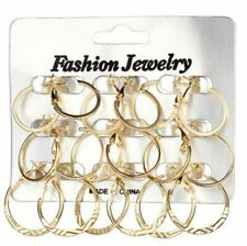 womans 9pc hoop earring set  gold fashion costume jewellery gift uk