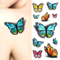3D Colorful Flower Butterfly Waterproof Tattoo Stickers Body Art Temporary Decal