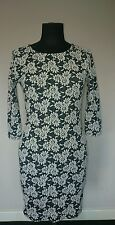 RIVER ISLAND Wms Size 10 Black & White Daisy Bodycon Dress