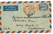 IRAQ-PALESTINE 1949 BASRAH AIRMAIL TO LONG BEACH CAL WITH PALESTINE AID STAMP ON
