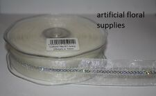 25mm x 10m Chic Sequined Organza Wired Ribbon wedding, gift wrapping cakes