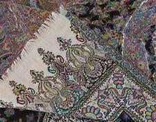 Pashmina Wool Paisley Shawl Hand-Cut Kani Quality Ivory Black Jamavar Stole