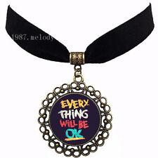 Everything be ok Vintage women's fashion Velvet strip Cabochon Necklace Pendant
