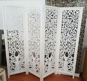 Indian Boho Tree of Life Antique White room divider privacy screen 4 panels