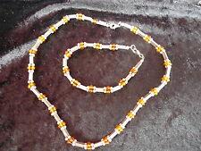 Schönes ,altes Schmuckset __925 Silber mit Bernstein -Perlen__Kette und Armband