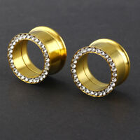 Gold Surgical Steel Rhinestone Ear Plug Flesh Tunnel Screw Piercing Expander