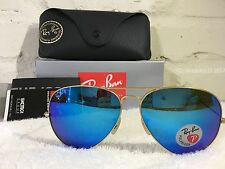 RAY BAN Aviator Sunglasses Gold Frame RB 3025  POLARIZED Blue Flash Mirror 62mm