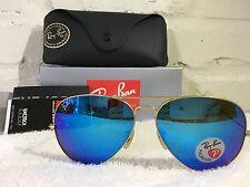 RAY BAN Aviator Sunglasses Gold Frame RB 3025  POLARIZED Blue Flash Mirror 62mm