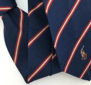 Polo Ralph Lauren Tie Navy Red Stripe Horse Silk Necktie Boys I16-174 Vintage