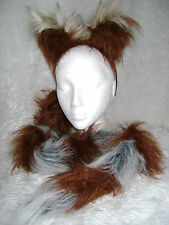 Rocket Raccoon Fancy Dress Ears And Tail Set Brown & Grey Raccoon Costume Set