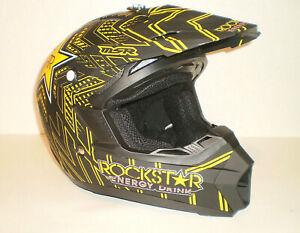 RockStar Energy Drink Motorcross Kinetic Helmet Model AP-867-MSR Size Youth Lg.
