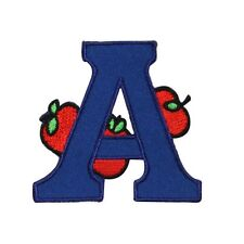 ID 0991 Letter A Apple Patch School Learning Reading Embroidered IronOn Applique