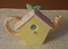 """Porcelain Tea Pot Bird House Design W/Lid 7"""" Tall"""