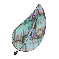 Sterling Silver Abalone Leaf Brooch/Pendant - 925 Convertible Pin Taxco
