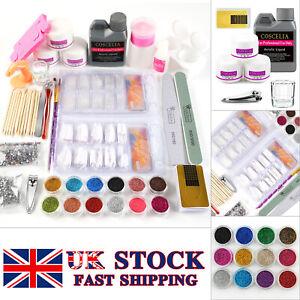 Acrylic Powder 120ml Liquid Kit Glitter Nail Art Brush Set Tool Tips DIY Gift UK
