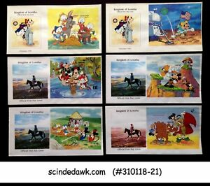 LESOTHO - SELECTED DISNEY CHARACTERS FIRST DAY COVERS - 6nos