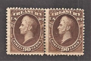 O-82 90c Treasury Brown Pair MNH With Disturbed Gum Cats $1000 As Per Scans