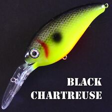 Deep diving BLACK CHARTREUSE crankbaits bass fishing lures