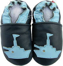 carozoo warship dark blue 3-4y soft sole leather toddler shoes