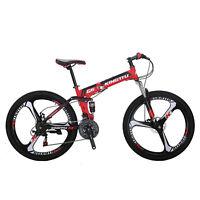 "26"" Folding Mountain Bike Full Suspension Foldable frame Shimano21 Speed Bicycle"