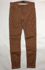 Hudson Skinny Jeans Size 29 x 29 Long Red & Gold Patterned Pants ~ FREE SHIPPING