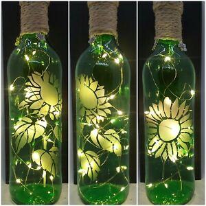SUNFLOWER 2, HAND ETCHED GREEN LIGHT UP BOTTLE, BATTERY LIGHTS