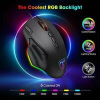 USB Wired Gaming Mouse RGB LED Backlit 10 Programmable Keys Max 12000 DPI Mice