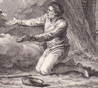 Gravure XVIIIe Treve Seigneur 1044 Apparition Vierge Bûcheron Durand Evêque Puy