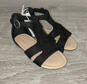 New Toddler Girls Old Navy Black Faux Suede T-Strap Sandal 6