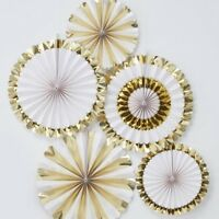 GOLD FOILED FAN DECORATIONS- Wedding, Baby Shower, Engagement, Party Decorations