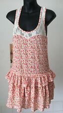 Miss Selfridge Petites ~ short summer vest top lace & frills stretchy dress 12