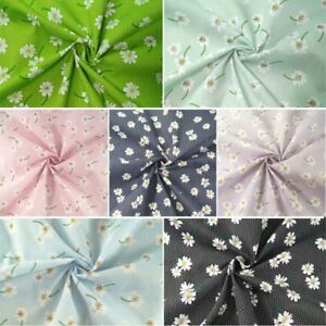 Polycotton Fabric Polka Dot Floating Daisies Flowers Floral Spots Dots Daisy