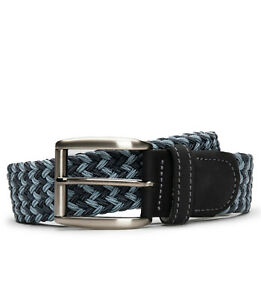 Fashion braided belt on vegan leather with square silver buckle & tapered tip