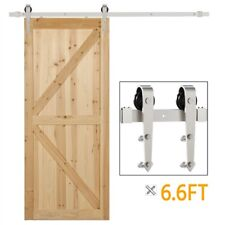 6.6ft Brushed Nickel Barn Hardware Track Kit for Single Door Track Rail Set