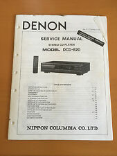 DENON DCD-820 Stereo CD Player Service Manual - Factory Original