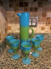 RARE WEST VIRGINIA BLENDO MARTINI PITCHER SET WITH STIRRER AND 5 GLASSES