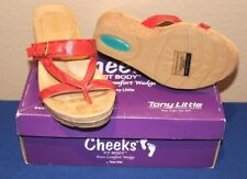 Tony Little Cheeks® Fit Body™ Snake Wedge Sandal Foam Padded RED 9.5 NEW IN BOX