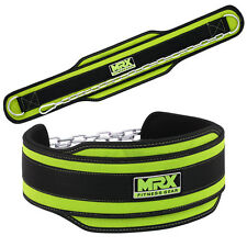 Weight Lifting Power Belts Gym Exercise MRX Dip Belt with Metal Chain Green