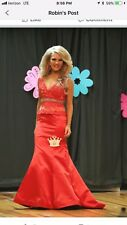 Sherri hill Red Gown Dress Satin Lace Size 0