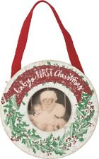 "BABY'S FIRST CHRISTMAS Photo Ornament, 4.5"" Round, Primitives by Kathy"