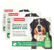 SPOT ON Zeckenschutz 3 Packungen á 3 Pipetten  Hunde über 15kg Beaphar , TOP