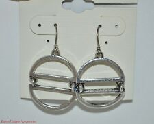 Lucky Brand Antique Silver-tone Double Drop Hoop Women Earrings NWT JLD0994 Nice