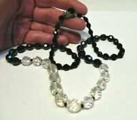 BLACK & CLEAR GLASS NECKLACE STRAND STRING 24 INCHES SILVER CLASP WITH BEAD