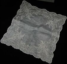Vintage Amazing Ladies Hand Embroidered Wedding Handkerchief Hankie Floral