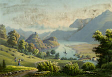 Goldswyl on Lake Brienz, Switzerland –Original early 19th-century aquatint print
