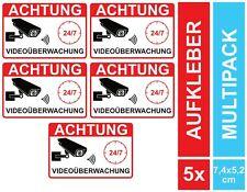 5 Aufkleber Videoüberwachung Videoüberwacht Kameraüberwachung Video klein Set